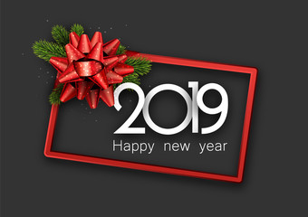 Grey 2019 happy New Year card with red frame and bow.