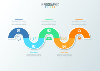 Business infographic template with 5 options curve line, Abstract elements diagram or processes and business flat icon, Vector business template for presentation.Creative concept for infographic.