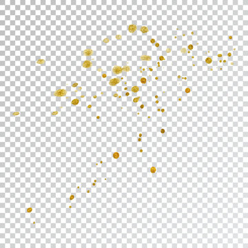 Gold paint splash smear stroke stain, brush stroke. Abstract gold glittering texture. High quality traced vector illustration