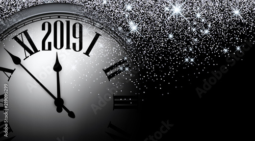 silver shiny 2019 new year background with clock greeting card
