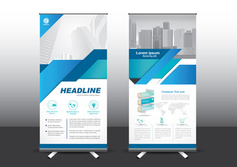 Roll Up template vector illustration, Designed for style applied to the expo. Publicity banners, business model, vertical blue and green tones they use.