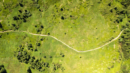 Foto op Canvas Luchtfoto Aerial view of the footpath in the Carpathian Mountains