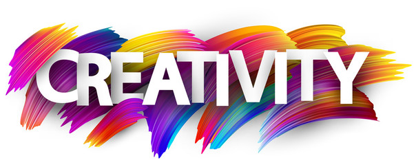 Creativity sign with colorful brush strokes.