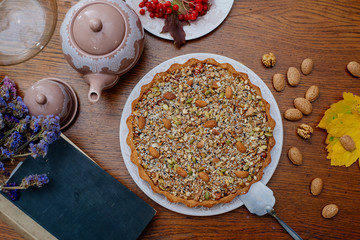 Victorian pie with nuts and seeds. Autumn mood.