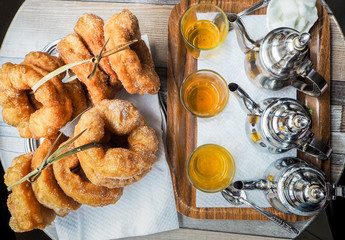 Traditional fresh baked arabic donuts in Morocco