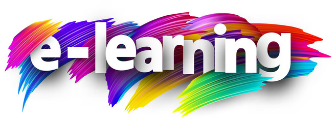 E-learning sign with colorful brush strokes.