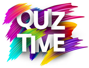 Quiz time sign with colorful brush strokes.