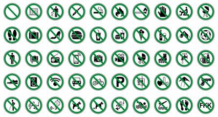 50 Verbots- & Warnschilder (Grün)