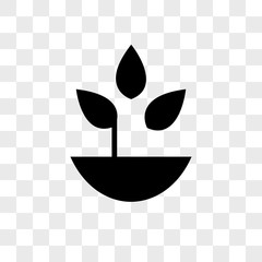 Plant with leaves in a pot vector icon on transparent background, Plant with leaves in a pot icon