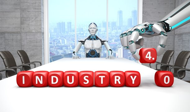 White robot in a conference room with the Industry 4.0 cubes. .