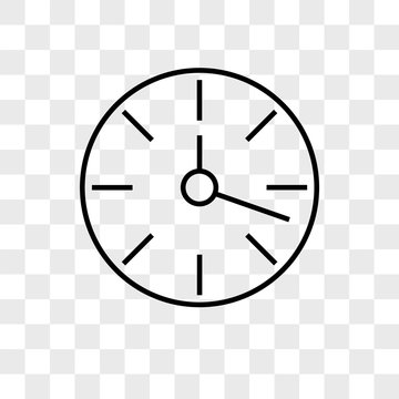 Clock vector icon on transparent background, Clock icon