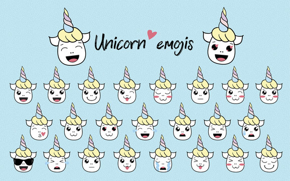 cute vector unicorn icon emoji fanny isolated