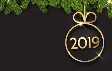 Black 2019 New Year background with Christmas ball and fir.