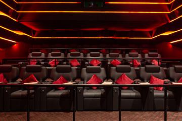 Empty cinema hall with red light
