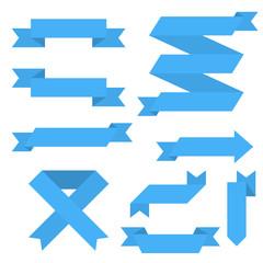 Blue paper scrolls. Set of ribbon banners