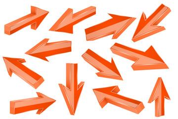 Orange 3d arrows. Set of shiny straight signs