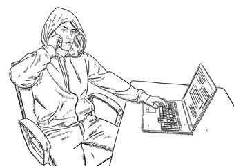 sketch style illustration of hacker talking on mobile phone