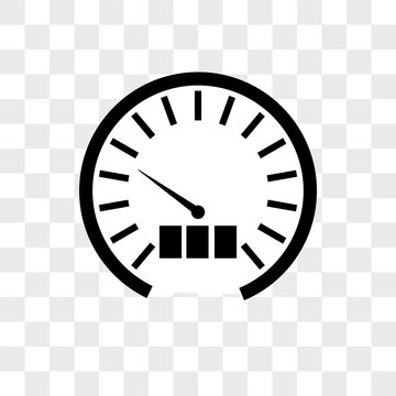 Speedometer vector icon on transparent background, Speedometer icon