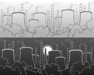 Industry illustration. Factory thermal power plant. Urban scene. Pipes and smoke. White and gray lines on light and dark background. Vector design art