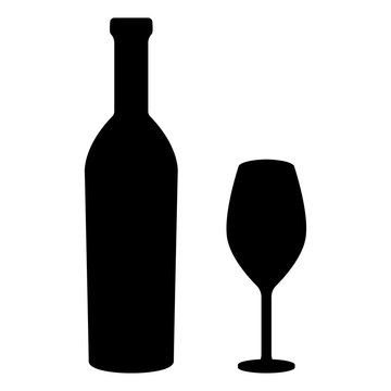 Glass and bottle of wine. Black silhouette