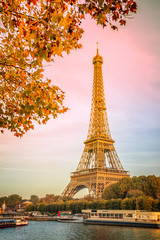 Wall Mural - Eiffel tower and the river Seine, yellow automnal trees, Paris France