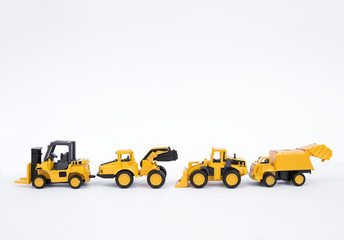 Truck toy collections isolate on white background, industrial and construction truck