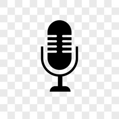 Microphone vector icon on transparent background, Microphone icon