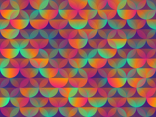 Colorful rainbow background with bright circles and multi-colored gradient. Vector illustration with seamless texture
