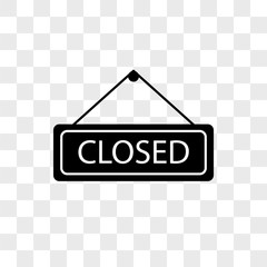 Closed vector icon on transparent background, Closed icon