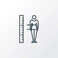 Body measurement icon line symbol. Premium quality isolated figure element in trendy style.