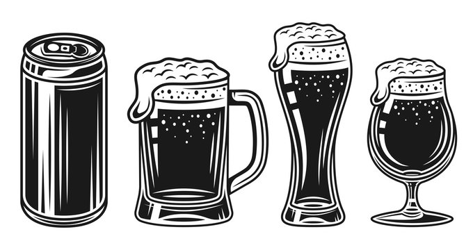 Beer glass, mug and can vector black objects set