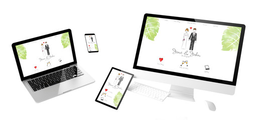 Wall Mural - flying devices wedding responsive website
