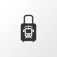 Suitcase with electric train icon symbol. Premium quality isolated trolley element in trendy style.