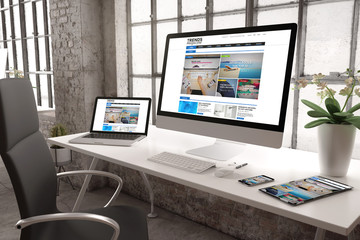 industrial office mockup e-magazine website