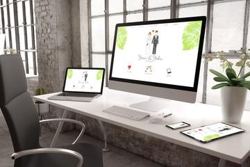 industrial office mockup wedding website