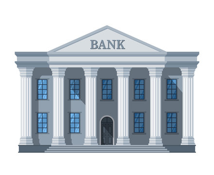 Cartoon retro bank building or courthouse with columns vector illustration isolated on white background