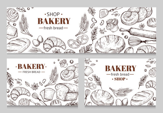 Vintage bakery banners with sketched bread vector set