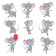 Cute mouse. Cartoon mice in house. Vector isolated characters