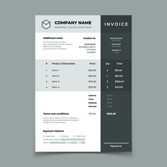 Invoice template. Bill with price table. Paper order bookkeeping service document. Quotation vector design