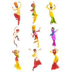 Indian man and woman in traditional clothes dancing folk dance set vector Illustrations on a white background