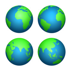 Fotomurales - Earth 3d globe. World map with green continents and blue oceans. Vector isolated set
