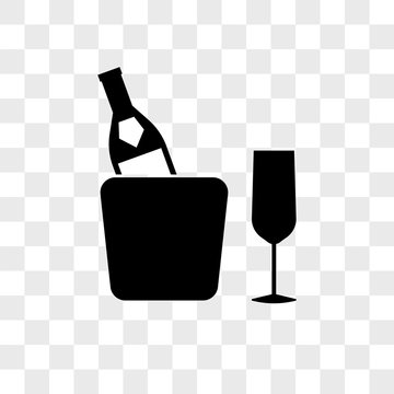 Champagne vector icon on transparent background, Champagne icon