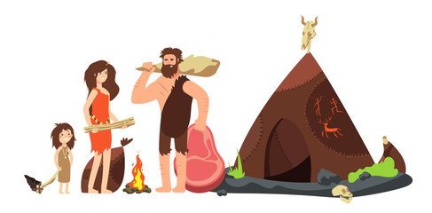 Fototapeta Cartoon caveman family. Prehistoric neanderthal hunters and kids. Ancient homo sapiens vector illustration