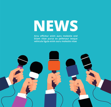 News concept with microphones. Broadcasting, interview and communication vector banner with handa holding microphones