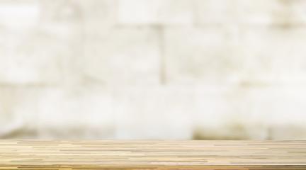 Wooden worktop on blur background