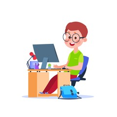 Child at computer. Cartoon boy learning at desk with laptop. Student studying code vector concept