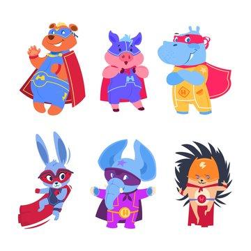 Superhero animals. Baby superheroes vector characters set