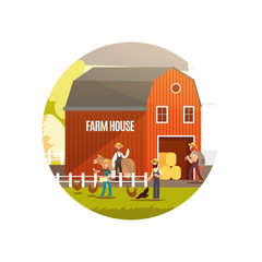 Cartoon farm with farmers, farm animals and equipment vector illustration. Harvest emblem design