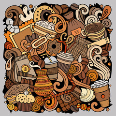 Cartoon vector doodles Coffee House illustration. Bright colors Cafe funny picture