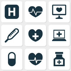 Drug icons set with heart, computer, medicine and other drug